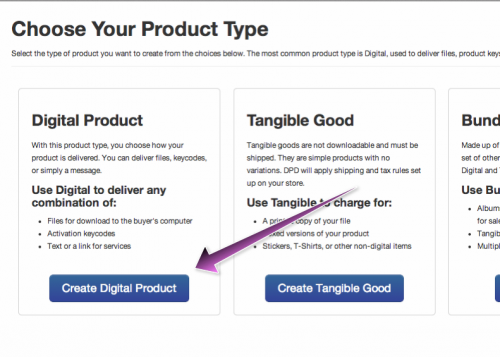 Select Digital Product type