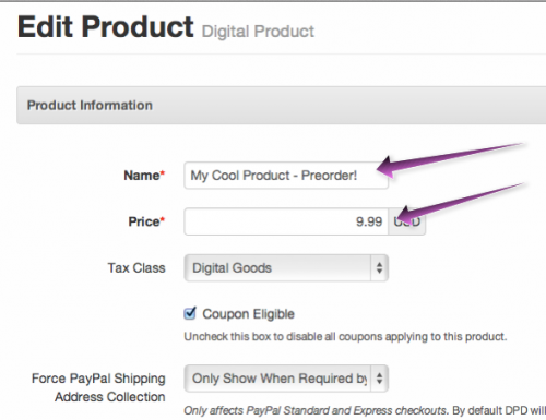 Define your preorder product
